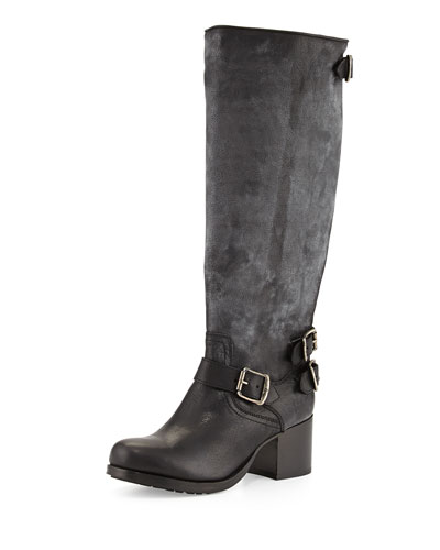 Vera Leather Back-Zip Tall Boot, Black