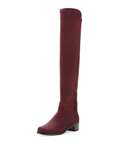 Reserve Pindot Over-the-Knee Boot, Bordeaux (Made to Order)