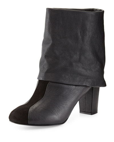 Cuffed Leather Bootie, Black