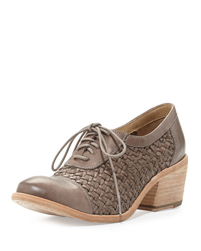 Maggie Woven Leather Oxford, Gray