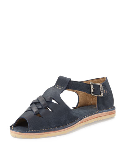 Holly Braided Leather Sandal, Navy