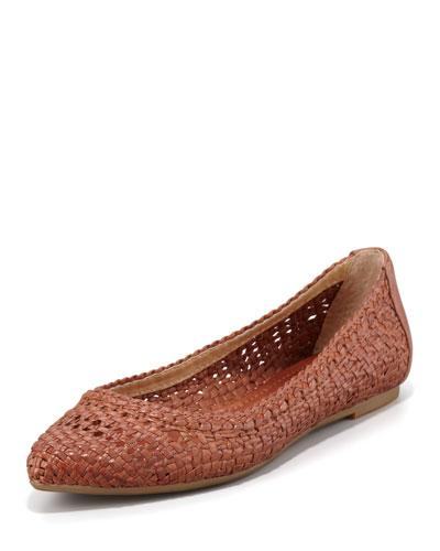 Regina Woven Leather Ballet Flat, Cognac
