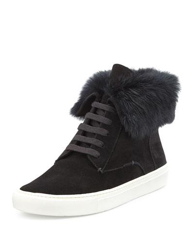 Nyack Rabbit Fur-Cuff Sneaker, Black