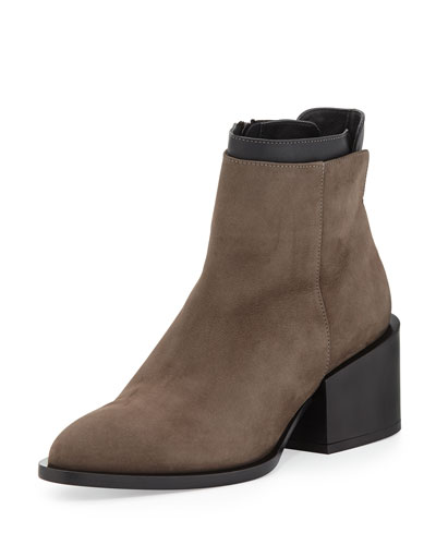 Laura Layered Leather Ankle Boot, Umber/Black