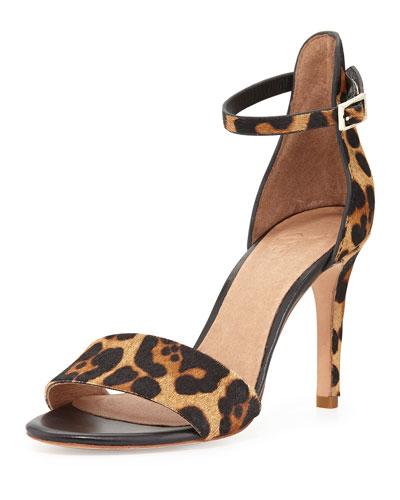 Jaclyn Leopard-Print Calf Hair Sandal, Neutral