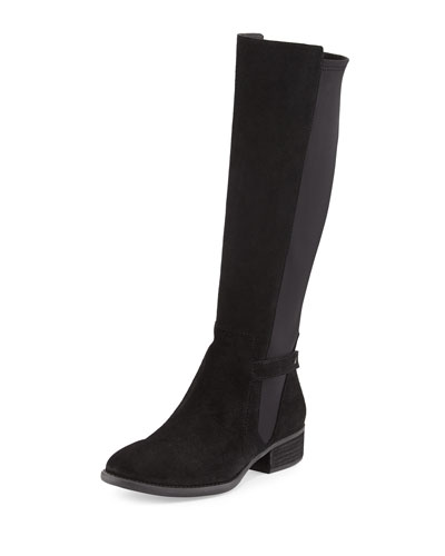 Piment Suede Boot with Stretch Back, Black
