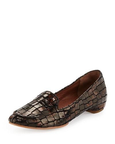Bengi Croc-Print Loafer, Bronze
