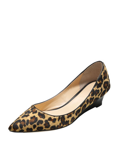 Bradshaw Calf Hair Wedge Pump, Camello/Ocelot