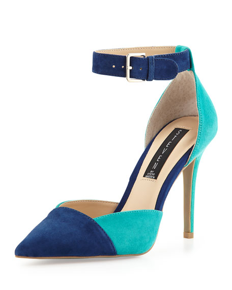 07186a71c62 Two-Tone Winter Suede D'Orsay Pump Blue/Teal