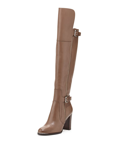 Quinto Leather Knee Boot, Taupe