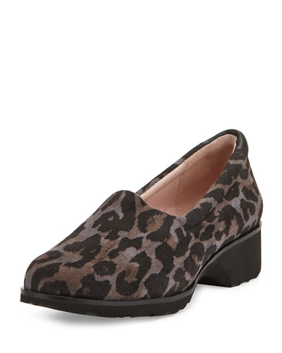 Tutu Animal-Print Suede Slip-On, Gray/Black