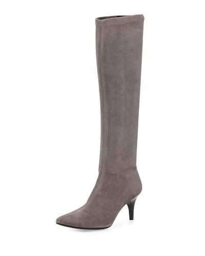 Lilia Pointy-Toe Mid-Heel Suede Boot, Fog