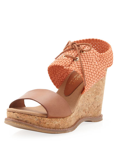 Julian Woven Cork Wedge, Coral