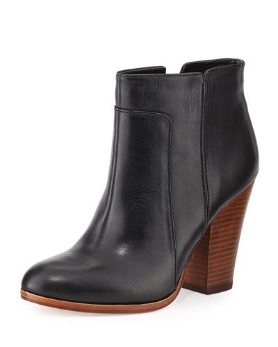 Rocker Casual Leather Bootie, Black