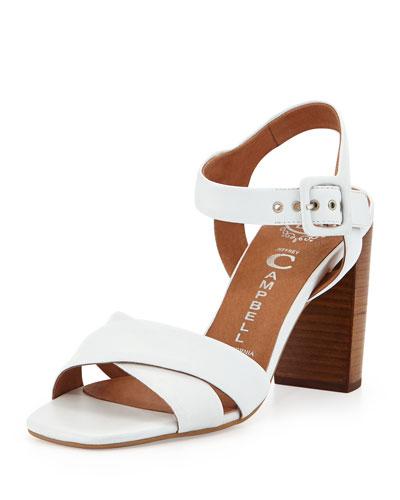 Cermak Mid-Heel Leather Sandal