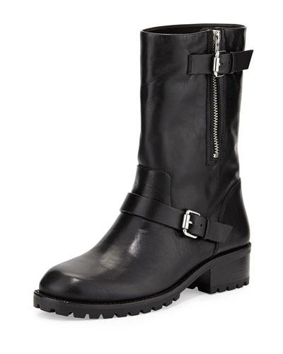 Riona Leather Moto Boot, Black