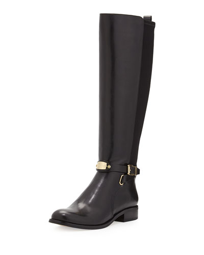 Arley Stretch Leather Knee Boot, Black