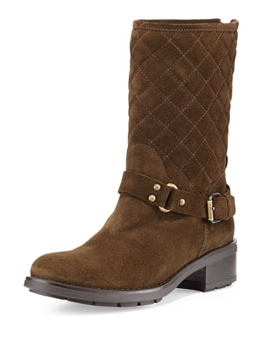 Sage Quilted Suede Moto Boot