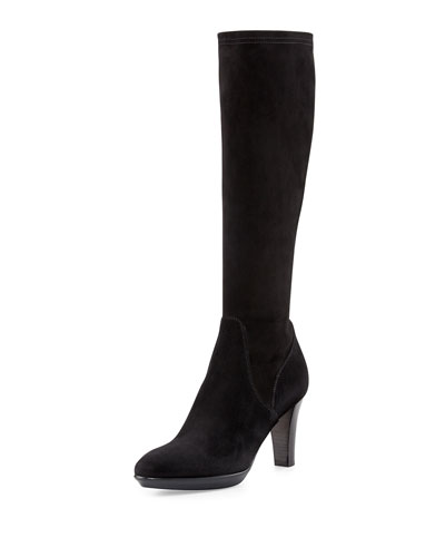 Rhumba Stretch Suede Knee Boot, Black