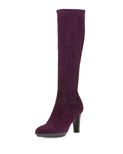 Rhumba Stretch Suede Knee Boot, Plum