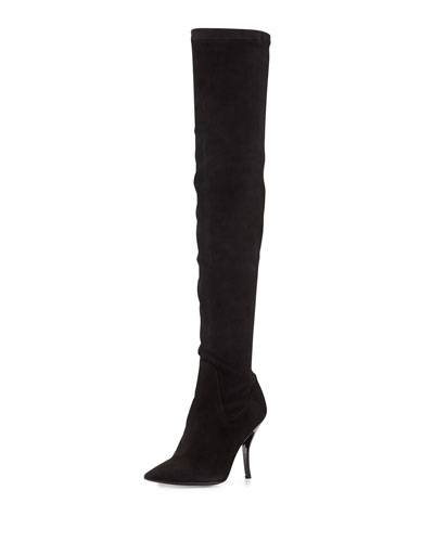 Bet Suede Over-the-Knee Boot, Black