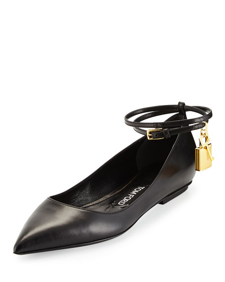 426a594c655 TOM FORD Leather Ankle-Lock Ballerina Flat
