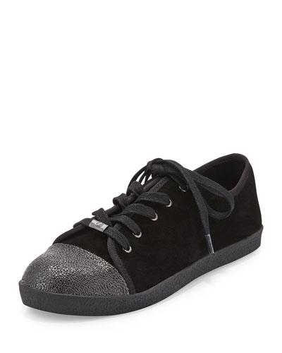 Magie Low-Top Suede Sneaker, Black