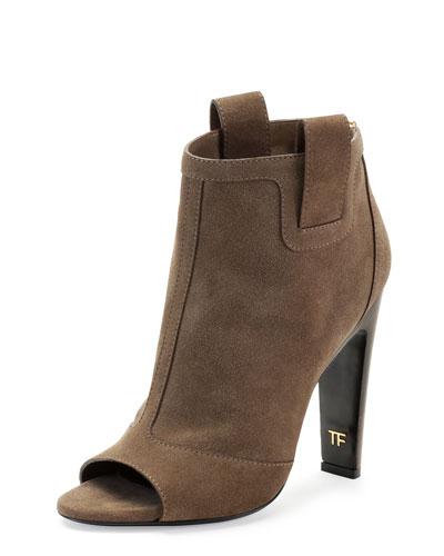 Suede Zip-Back Open-Toe Ankle Boot, Desert