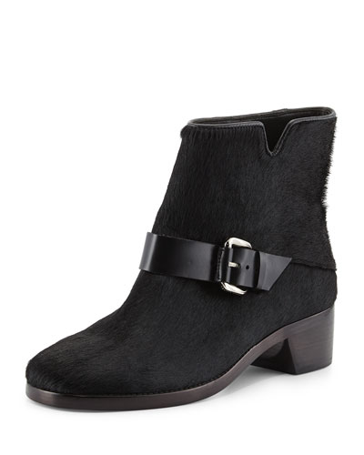Charlotte Calf Hair Ankle Boot, Black