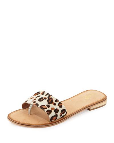 City Slicker Leopard-Print Calf Hair Sandal