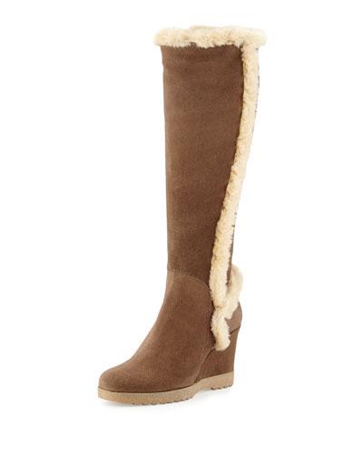 Carmen Faux-Fur Trimmed Knee Boot, Smog