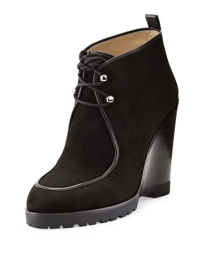 Beth Lace-Up Wedge Bootie, Black