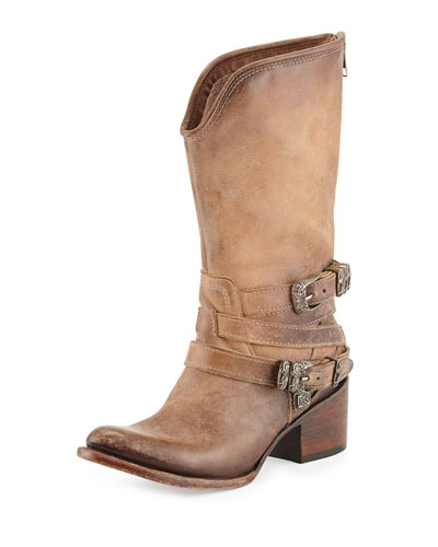 Pikes Buckle-Strap Western Boot, Natural