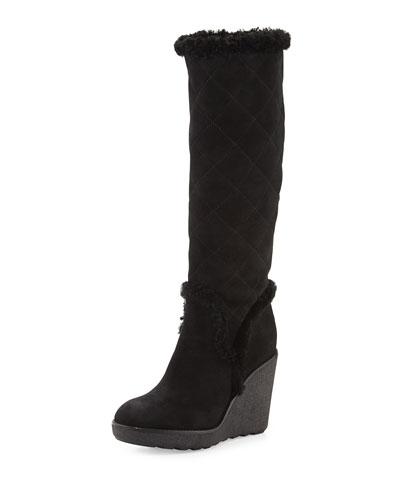 Paulette Quilted Sheepskin Fur Wedge Boot, Black