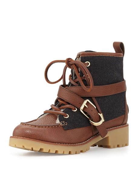 87e54d6dd8a1 Tory Burch Samson Mixed-Media Lace-Up Bootie