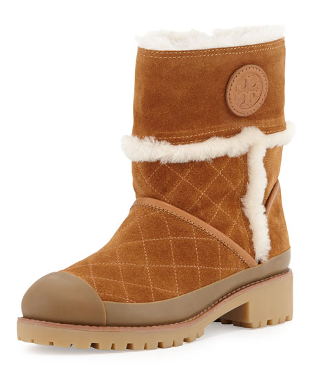 99cc65ce4272 Tory Burch Boughtron Shearling Fur-Lined Logo Boot