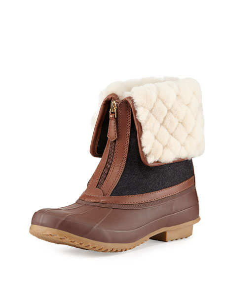 5fdc8a72f194 Tory Burch Abbott Shearling-Cuff Duck Boot