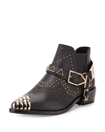 Santa Fe Leather Ankle Boot, Black