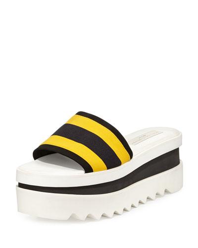 Triple Platform Banded Slide, Yellow/Black