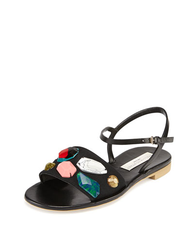 Beaded Ankle-Strap Sandal, Black