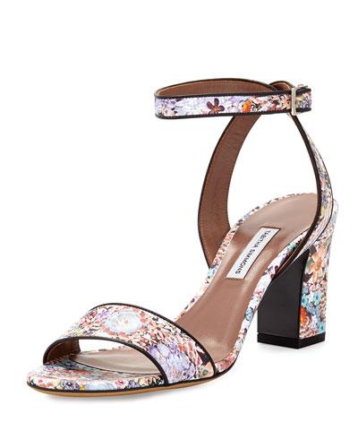 Leticia Floral-Print Leather Sandal