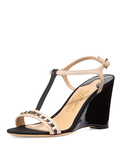 Malina Chain-Trim Wedge Sandal, New Bisque