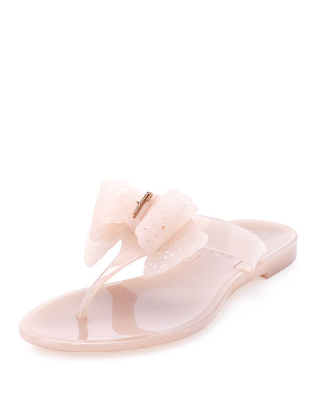 36698d0a4 Salvatore Ferragamo Pandy Lace-Bow Jelly Thong Sandal