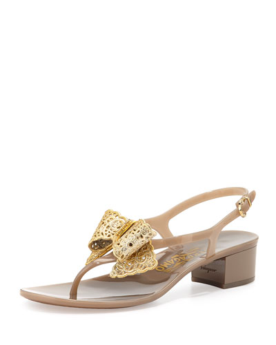 Perala Lace-Bow Jelly Sandal, Greige