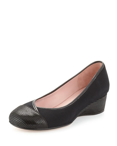 Merwyn Stretch Cap-Toe Wedge, Black