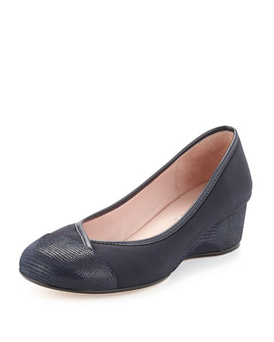 Merwyn Stretch Cap-Toe Wedge, Navy