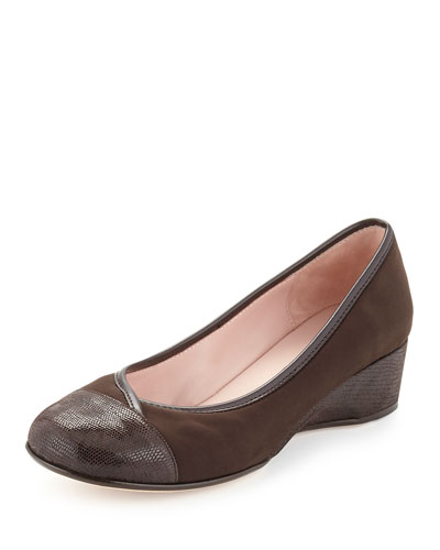 Merwyn Stretch Cap-Toe Wedge, Chocolate
