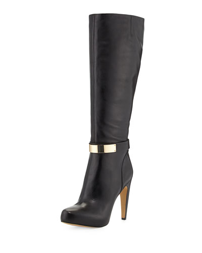 Klara Golden Plate Detailed Dress Boot, Black