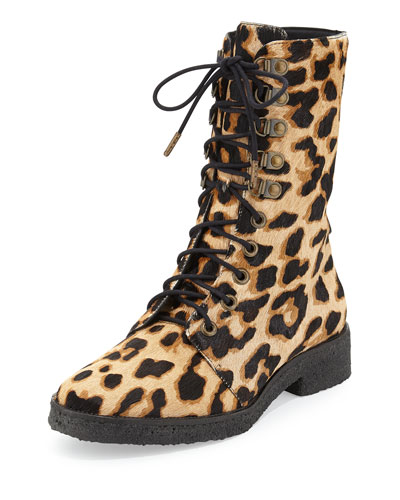Ace Leopard-Print Calf Hair Combat Boot
