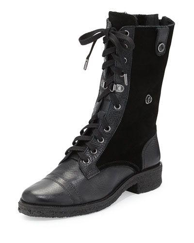 Alexia Too Shearling Fur Combat Boot, Black